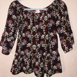 Floral Shirt with Ruffle Hem